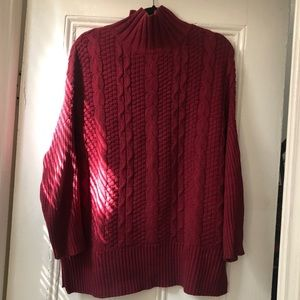 Old Navy dark red cable turtleneck sweater L
